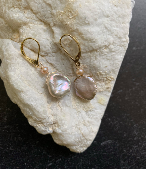Pink Pearl & Gold Earring