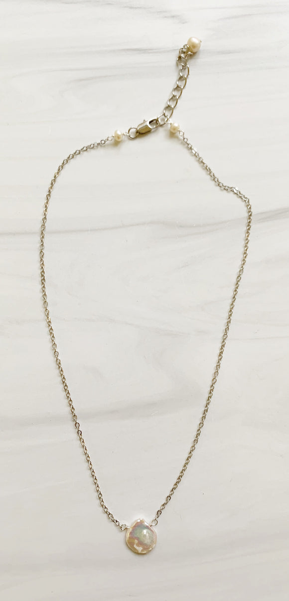 White Pearl  & Silver Chain Necklace