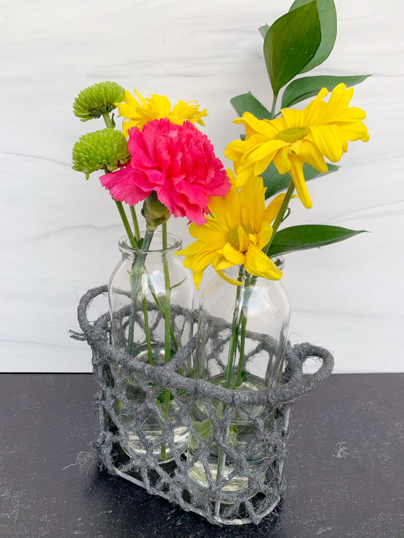 Two Bottle Jute Basket Flower Vase