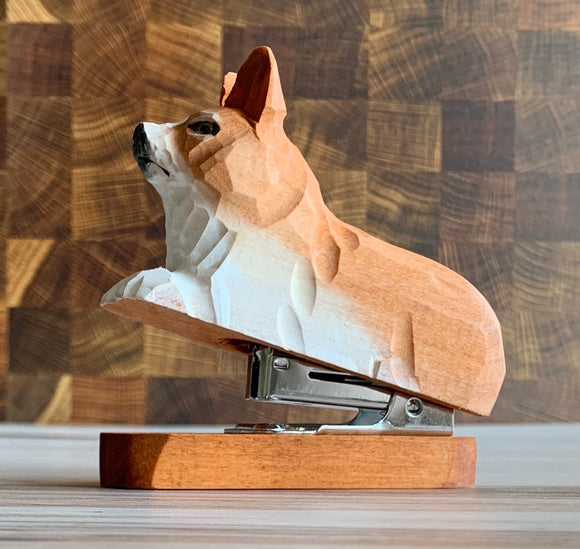 Wooden Corgi Dog Stapler