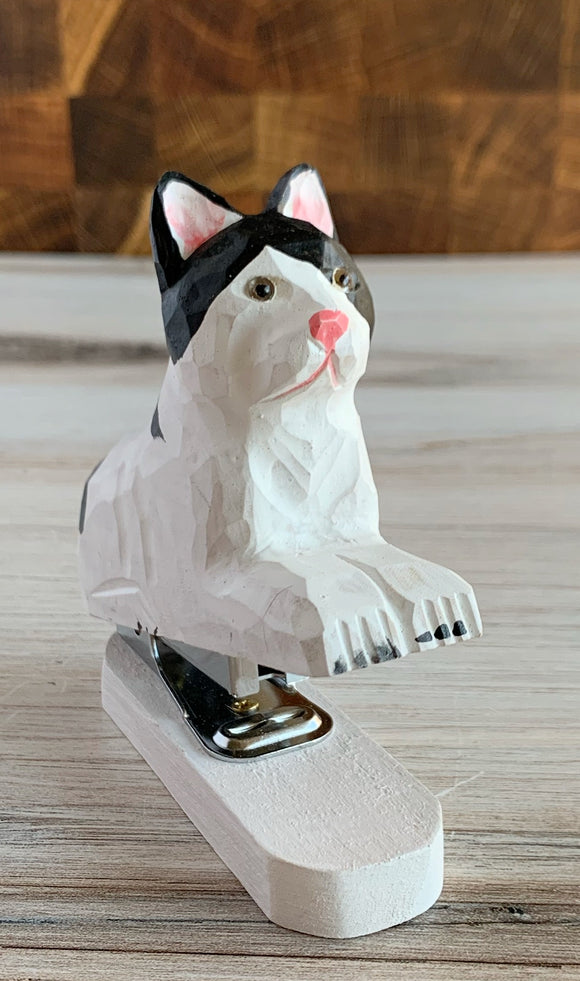 Realistic Wooden White & Black Cat Stapler