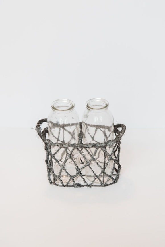 Two Bottle Jute Basket