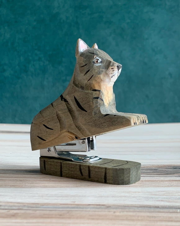 Wooden Gray Cat Stapler