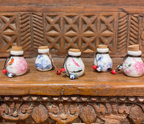 Set of 5 Mini Painted Bottles
