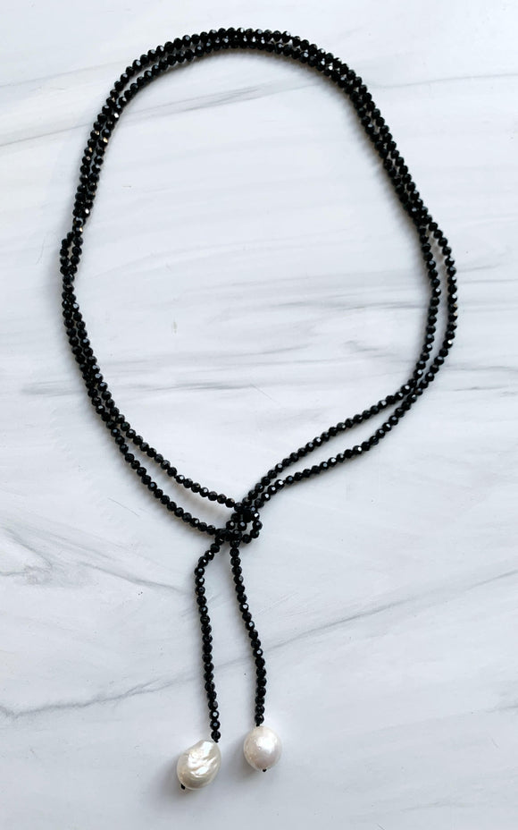 Black Crystal & White Baroque Pearl Lariat