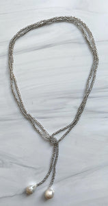 Gray Crystal & White Pearl Lariat Necklace