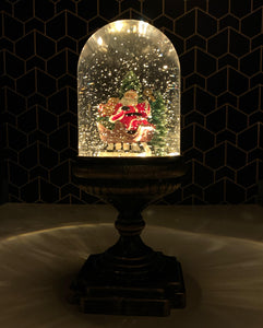 Tall Santa In A Sleigh Snow Globe