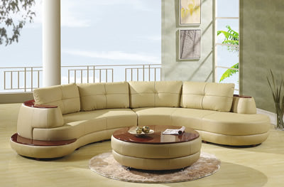 U918 Sectional Almond with Coffee Table