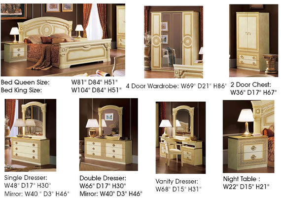 Aida Bedroom items dimensions