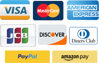 We accept Visa, MasterCard, Amex, JCB, Discover, Diners Club, PayPal, Amazon Pay