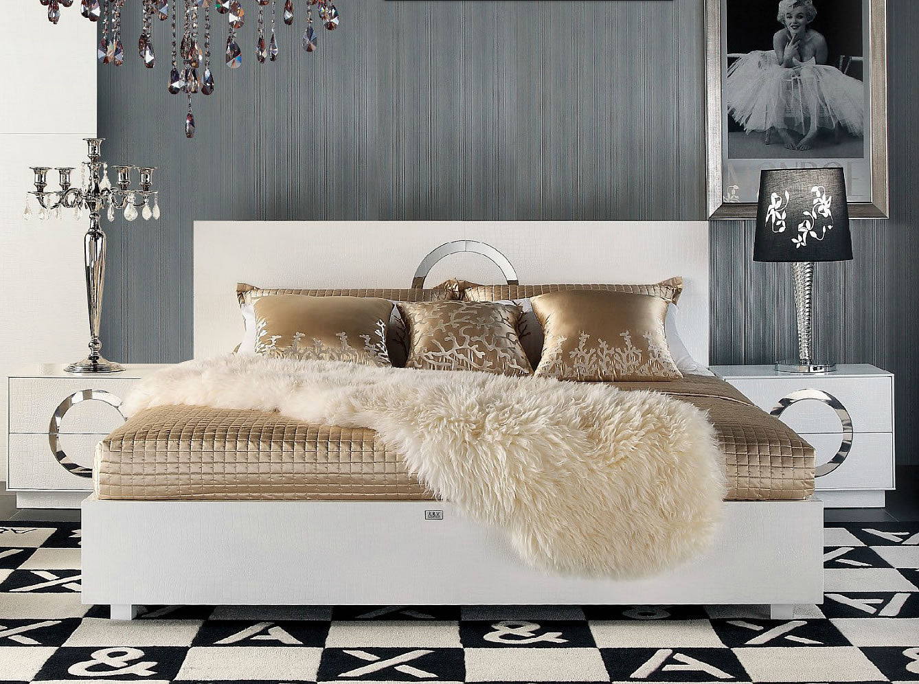 Any questions  Please email us   we guarantee you a prompt response. A X Ovidius   Modern Queen Size White Crocodile Lacquer Bed