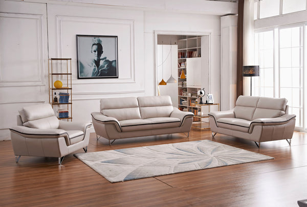 U168 taupe leather gel living room set classic 2 modern for Classic taupe living room