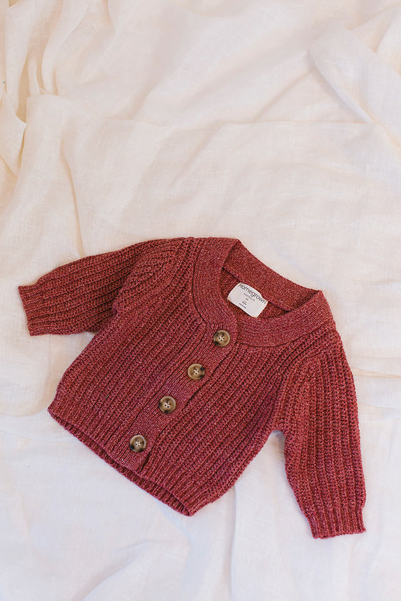 Chunky Knit Cardigan Cherry