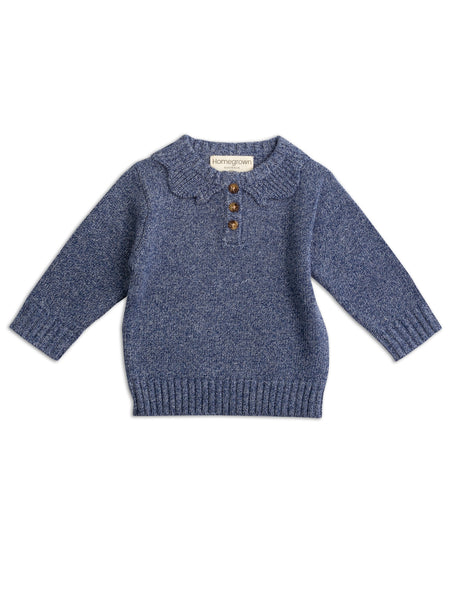 Cotton Knit Jumper Stormy Blue