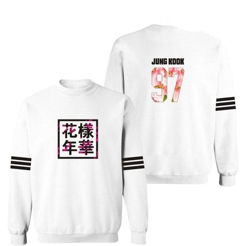 Image of White BTS Sweatshirt [All Member Names] - btsmerchstore.com