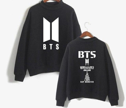 Image of Black And White BTS Turtleneck Sweatshirt - btsmerchstore.com
