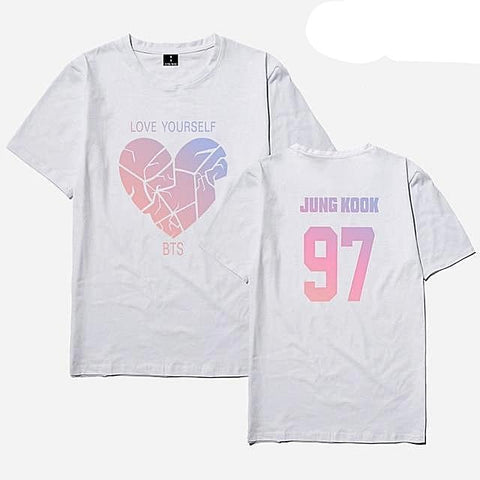 Image of White BTS Love Yourself Broken Heart T-shirt (All Members) - btsmerchstore.com