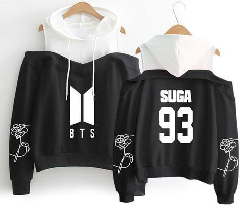 Image of Superb Black BTS Off-Shoulder Hoodie [All Members] - btsmerchstore.com
