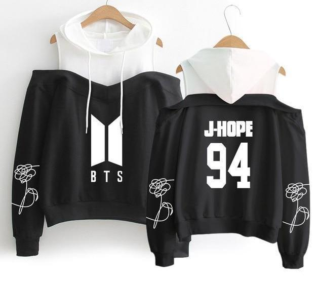 Superb Black BTS Off-Shoulder Hoodie [All Members] - btsmerchstore.com