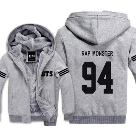 Image of Gray BTS Warm Winter Zipper Jacket - btsmerchstore.com