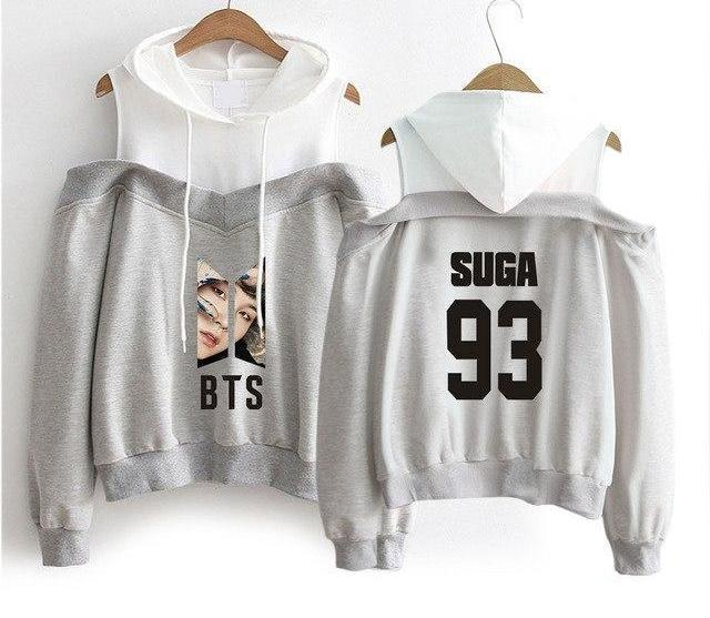 Best Gray BTS Off-Shoulder Hoodie [All Members] - btsmerchstore.com