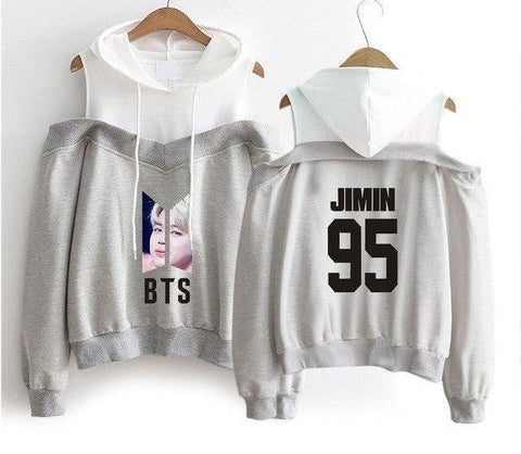 Image of Best Gray BTS Off-Shoulder Hoodie [All Members] - btsmerchstore.com