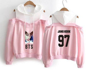 Best Pink BTS Off-Shoulder Hoodie [All Members]