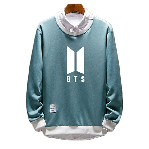 Image of BTS Pullover Fake Two Pieces Sweatshirt - btsmerchstore.com