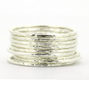 Lot sale includes 9 pieces, Solid 925 Sterling Silver Hammered Stacking Rings For Women.