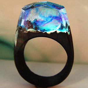 Handmade  Resin Wood Ring Transparent Microcosmic Forest Landscape