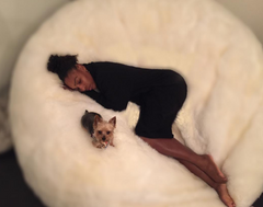 Serena Williams with her dog