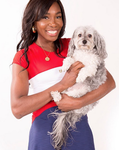 Venus Williams with her dog