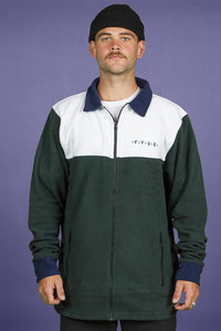 FYVE - Full Zip White and Olive - Poly Fleece