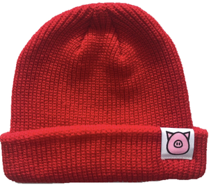 PIG FISHERMANS BEANIE, Red