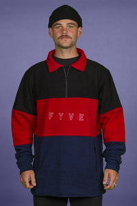 FYVE - Black Red & Navy Blue - Poly Fleece