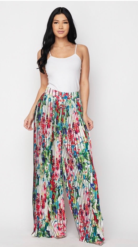 Pleated Flower Pants