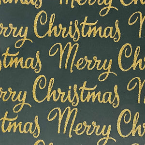 Glitter Merry Christmas/Forest Green Background with Gold Writing