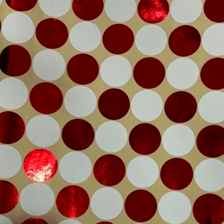 Red And White Foil Dot On Kraft