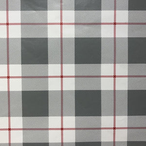 Grey Plaid with Red Stripe