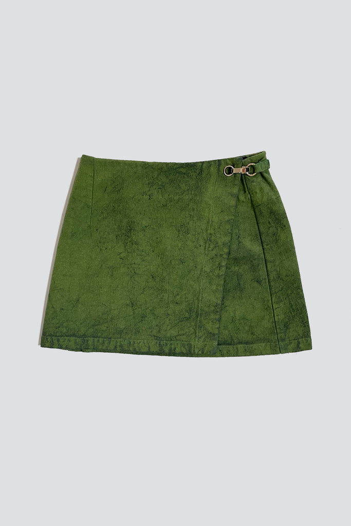 Green Overdyed Denim Mini Skirt