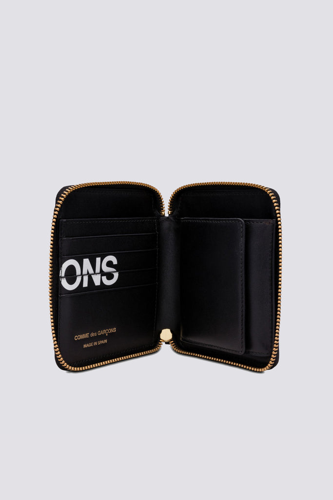 Leather Huge Logo Wallet - Black - SA2100HL
