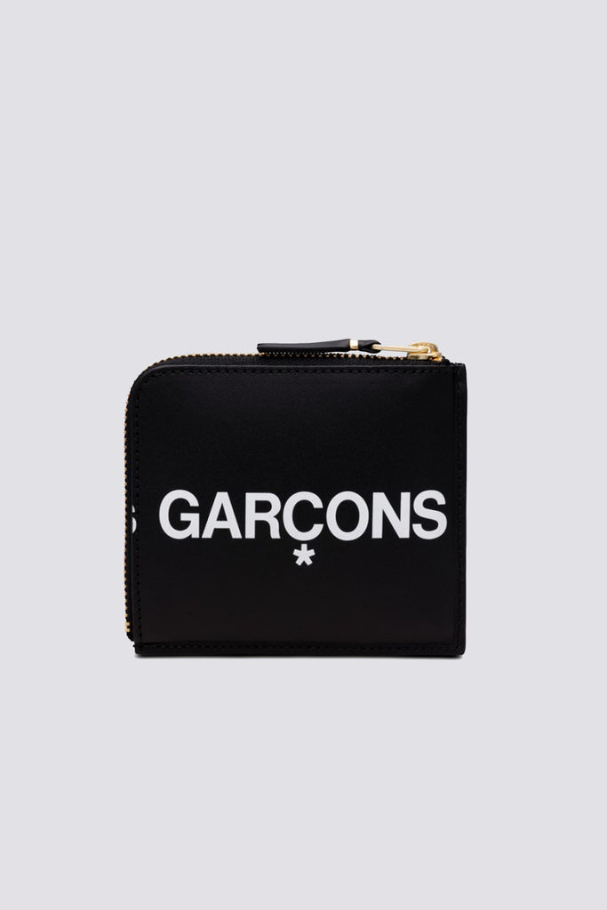 Leather Huge Logo Half Zip Wallet - Black - SA3100HL