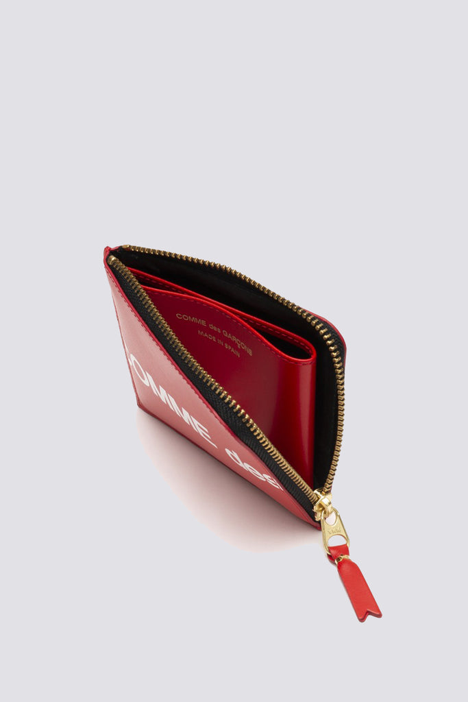 Leather Huge Logo Half Zip Wallet - Red - SA3100HL