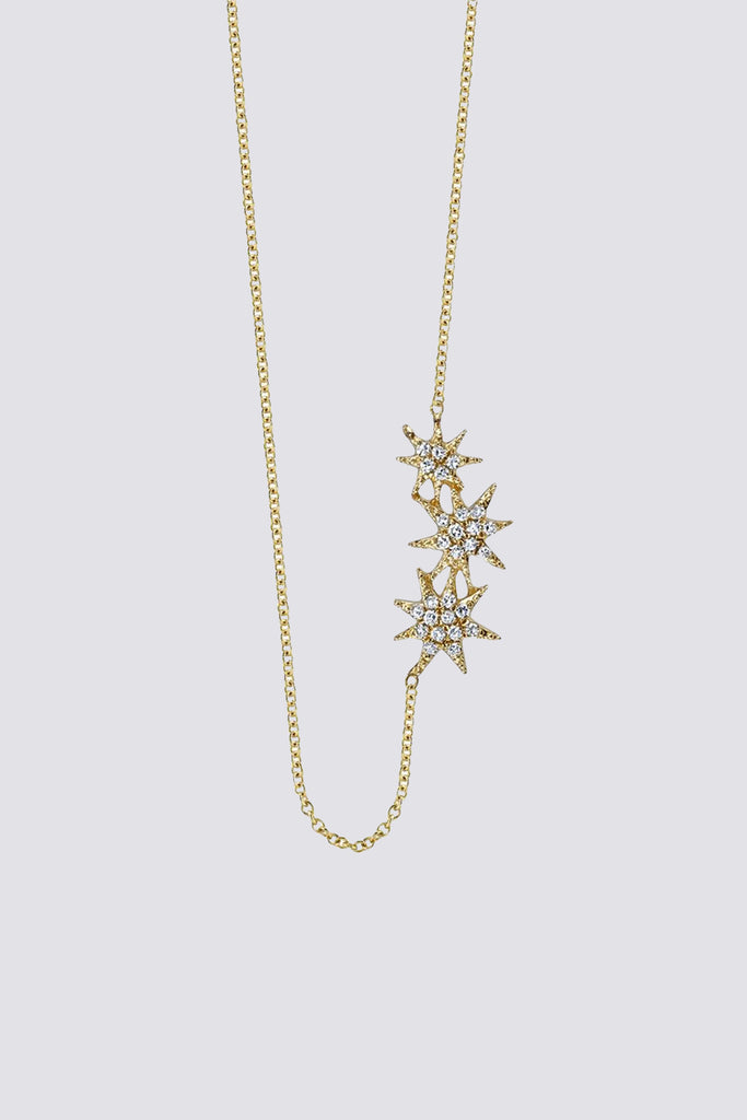 14k Gold Triple Shooting Star Necklace