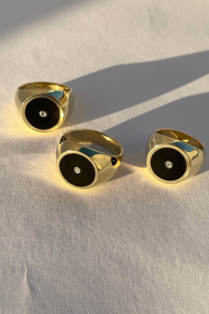 Brass Black Onyx with Diamond Signet Ring - Round