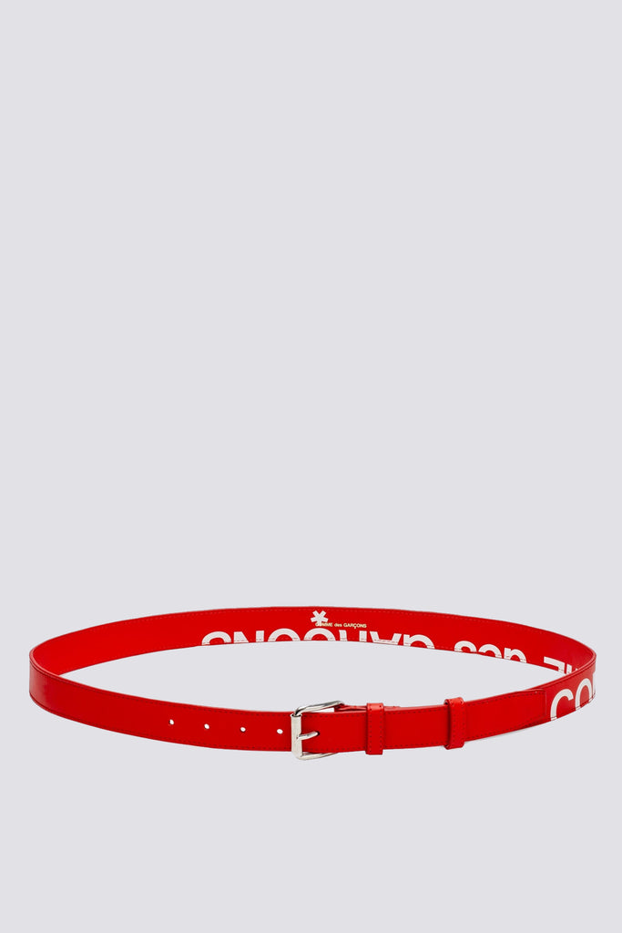 Leather Huge Logo Belt - Red