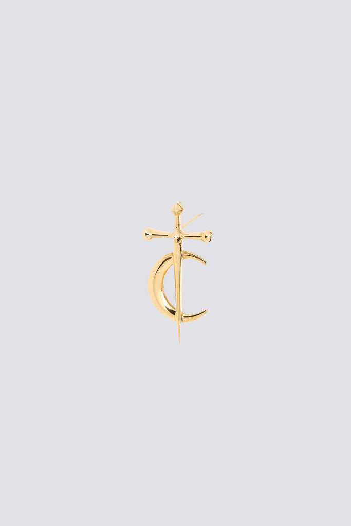Gold Sword Moon Earring Stud