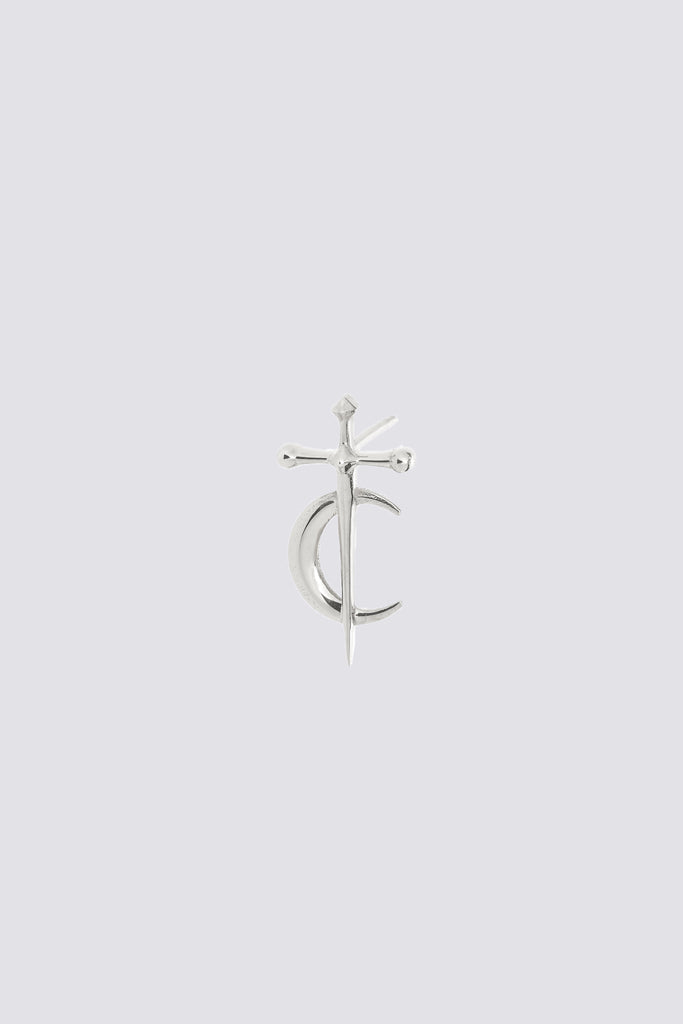 Silver Sword Moon Earring Stud