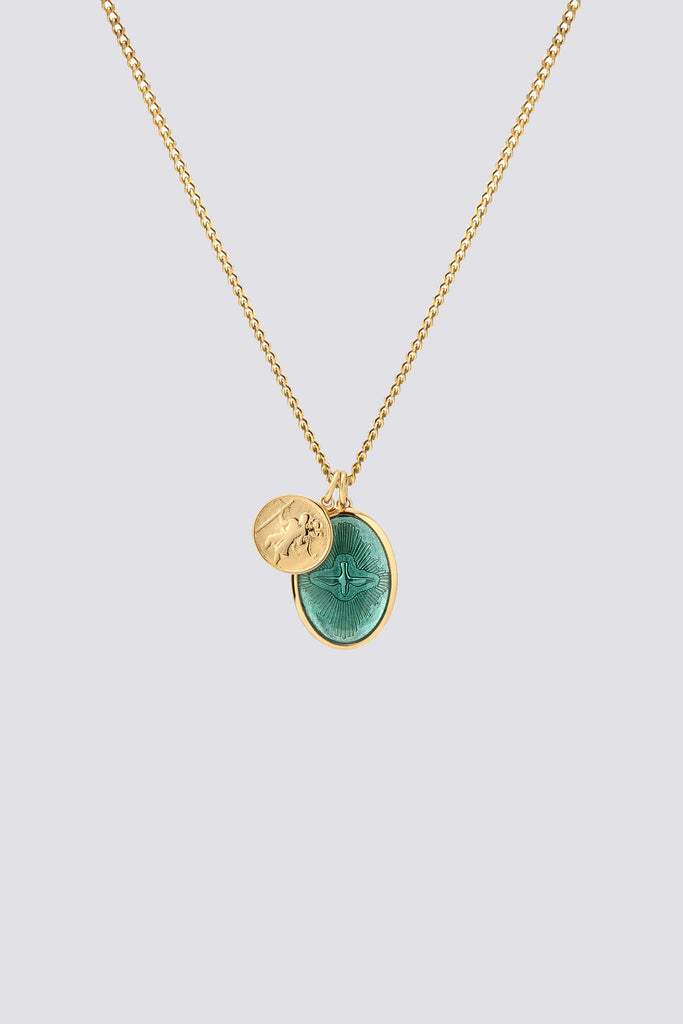 Gold/Teal Mini Dove Pendant