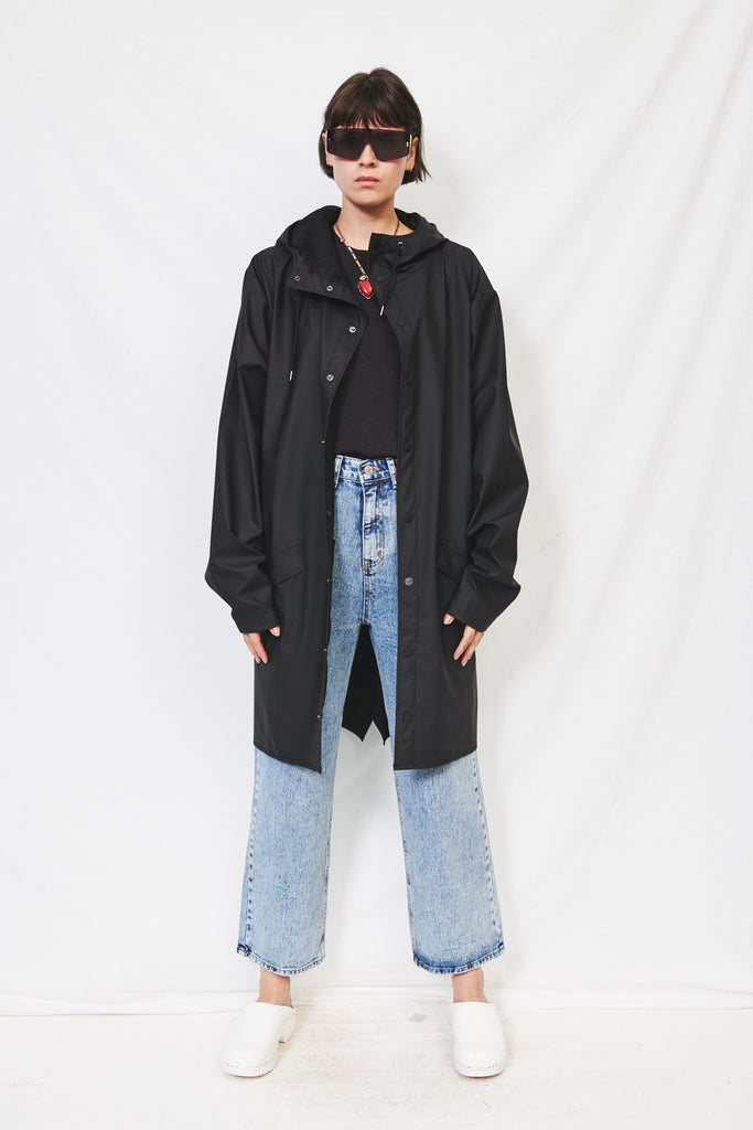 Hooded Rain Long Jacket - Black